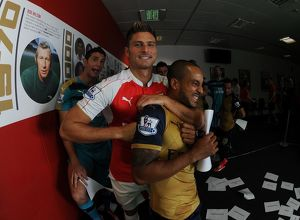 Emiliano Martinez, Olivier Giroud and Theo Walcott (Arsenal). Arsenal 1st Team Photcall