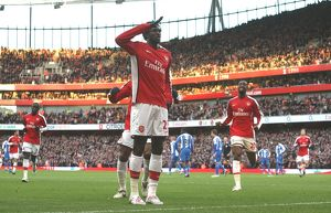 legends/ex players adebayor emmanuel/emmanual adebayor celebrates scoring arsenal goal