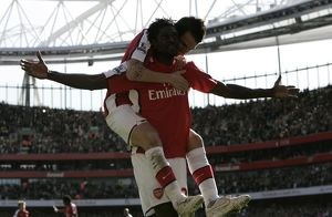 team/players coaches fabregas cesc/emmanuel adebayor celebrates scoring arsenals