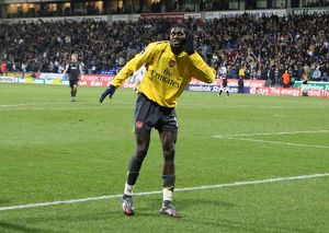 legends/ex players adebayor emmanuel/emmanuel adebayor celebrates scoring hte 3rd arsenal