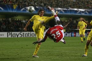 legends/ex players adebayor emmanuel/emmauel adebayor shoots past villarreal goalkeeper