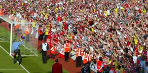 The fans in the Clock End wave at Arsene Wenger. Arsenal 2:1 Leicester City