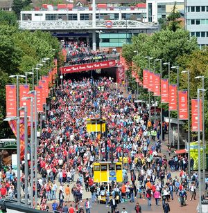 fans walk to the stadium before the match