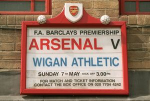 The fixture board displays the Wigan Athltic match, the last at Highbury