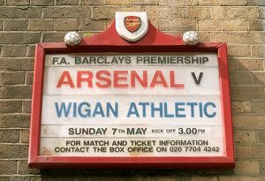 highbury stadium/fixture board displays wigan athltic match