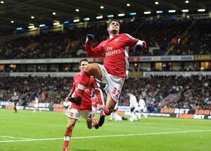 previous season matches/matches 2009 10 bolton v arsenal 2009 10/fran merida celebrates scoring 2nd arsenal goal