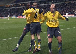 legends/ex players adebayor emmanuel/freddie ljungberg celebrates scoring 2nd arsenal