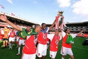 Gilberto, Patrick Vieira, Gael Clichy and Edu (Arsenal) with the Premiership trophy