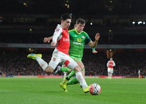 season 2015 16/arsenal v sunderland fa cup 2015 16/hector bellerin arsenal billy jones sunderland