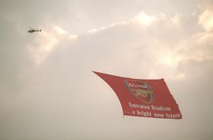 classic matches/arsenal v wigan 2005 06/helicopter emirates banner arsenal 42 wigan