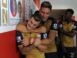 Jack Wilshere and Olivier Giroud (Arsenal). Arsenal 1st Team Photcall and Training
