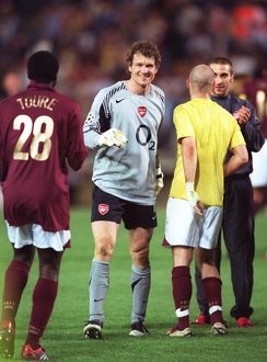 jens lehmann arsenal celebrates at the