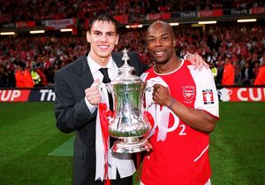 Jeremie Aliadiere and Sylvain Wiltord (Arsenal) with the FA Cup Trophy