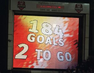 The Jumbo Tron lets Thierry Henry (Arsenal) he only needs two more goal to break Ian Wrights record
