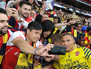 kieran gibbs arsenal with the fans after the match