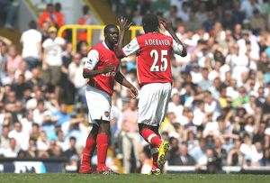legends/ex players adebayor emmanuel/kolo toure celebrates scoring 1st arsenal goal