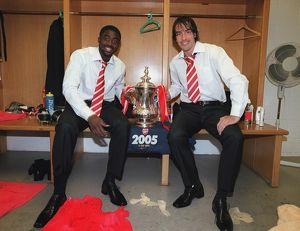 Kolo Toure and Robert Pires (Arsenal) with the FA Cup after the match