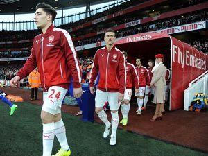 season 2015 16/arsenal v chelsea 2015 16/laurent koscielny arsenal walks tunnel match