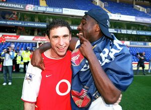 Martin Keown and Sol Campbell (Arsenal) celebrate winning the league