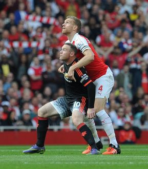 season 2015 16/arsenal v manchester united 2015 16/mertesacker arsenal wayne rooney man utd