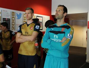 Per Mertesacker and Petr Cech (Arsenal). Arsenal 1st Team Photcall and Training Session