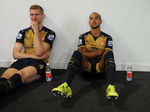 Per Mertesacker and Theo Walcott (Arsenal). Arsenal 1st Team Photcall and Training