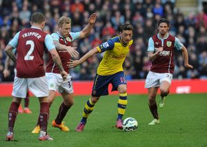 season 2014 15/burnley v arsenal 2014 15/mesut ozil arsenal scott arfield kieran trippier