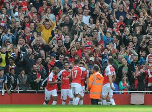 season 2015 16/arsenal v manchester united 2015 16/mesut ozil celebrates arsenals 2nd goal