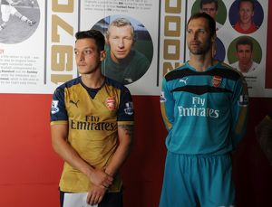 Mesut Ozil and Petr Cech (Arsenal). Arsenal 1st Team Photocall and Training Session