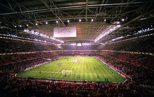 The Millennium Stadium with the roof closed before the match