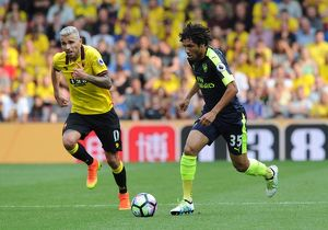 season 2016 17/watford v arsenal 2016 17/mohamed elneny arsenal valon behrami watford