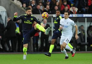 season 2016 17/swansea city v arsenal 2016 17/olivier giroud arsenal jack cork swansea