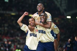 Patrick Vieira, Ashley Cole and Sol Campbell celebrate the Arsenal Championship victory after the ma