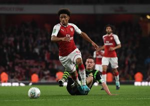 season 2017 18/arsenal v doncaster rovers carabao cup 2017 18/reiss nelson arsenal liam mandeville doncaster