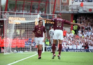 Robert Pires celebrates scoring Arsenal 1st goal with Thierry Henry