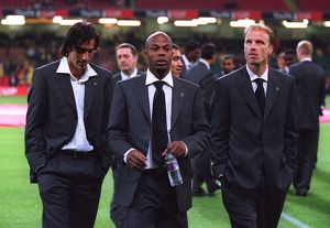 Robert Pires, Sylvain Wiltord and Dennis Bergkamp (Arsenal) in their Cup Final Suits before the matc