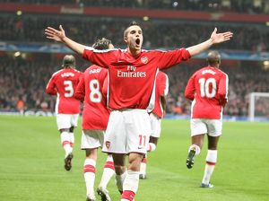 team/players coaches van persie robin/robin van persie celebrates scoring arsenal goal