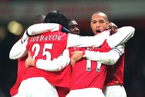 Robin van Persie celebrates scoring Arsenal's 1st goal with Emmanuel Adebayor