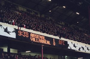 The scoreboard at the end of the match. One nil to Arsenal