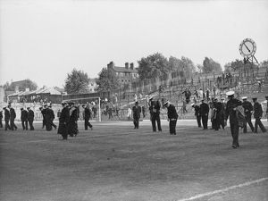 The last spectators are seen leaving the ground