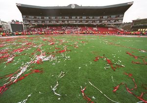Streamers on the pitch in front of the Clock End after the ceremony