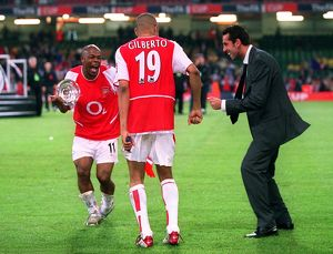 Sylvain Wiltord, Gilberto and Edu celebrate after the match