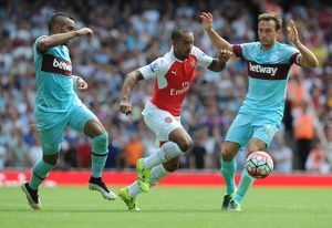 season 2015 16/arsenal v west ham united 2015 16/theo walcott arsenal dimitri payet mark noble west ham