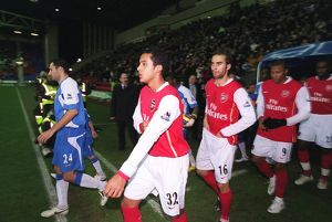 Theo Walcott and mathieu Flamini (Arsenal) before the match