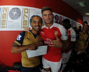 Theo Walcott and Olivier Giroud (Arsenal). Arsenal 1st Team Photcall and Training Session