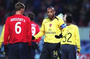 Thierry Henry (Arsenal) in shock after his goal is ruled out for handball
