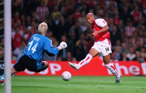 Thierry Henry (Arsenal) has his shoot blocked by Anti Niemi (Southampton)