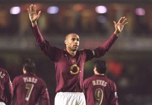 Thierry Henry celebrates scoring his 4th goal Arsenal's 6th