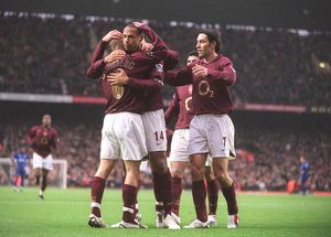 Thierry Henry celebrates scoring Arsenal's 1st goal with Freddie Ljungberg