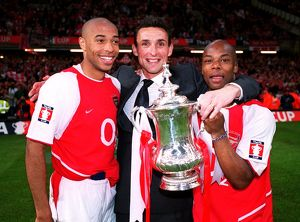 Thierry Henry, Guillaume Warmuz and Sylvain Wiltord (Arsenal) with the FA Cup Trophy